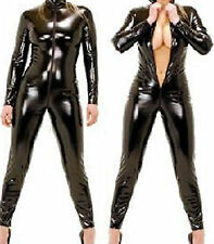 Black Faux Latex Look Catsuit Jumpsuit Crotch Zip Long Sleeves