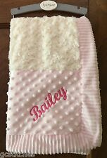 KYLE & DEENA pink ivory minky rosette swirl patchwork baby blanket Personalized