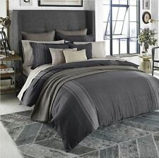 BEEKMAN 1802 Granby KING DUVET COVER BLUE GRAY HERRINGBONE STRIPE MENSWEAR NEW