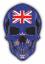 "Skull Flag New Zealand Car Bumper Sticker 4"" x 5"""