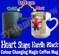 PERSONALISED HEART BLACK MAGIC COLOR CHANGING COFFEE PHOTO MUG GIFT VALENTINE