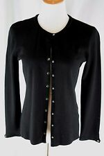 Sigred Olsen Cardigan Sweater Size S Black Rayon Blend Suede Leather Trim Snaps