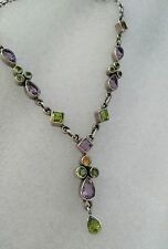 "NICKY BUTLER STERLING SILVER MULTI GEMSTONE NECKLACE - 17"" +1.5"" drop pendant"