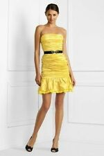 NWT BCBG MAX AZRIA DRESS BAMBOO YELLOW BLACK STRAPLESS 6/S M ONLY PARTY