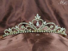 Heart Rhinestone Bride Tiara Wedding Gold Crown Headband Handmade Hair Jewelry