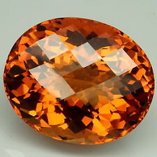 Comely!!! 29.65ct. Madeira~Honey Orange Citrine Oval&Checkerboard Table