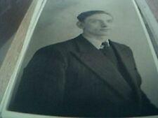 postcard photograph b/w man pin striped suit