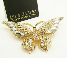 "Joan Rivers Magnificent Wide Winged Crystal  Butterfly Brooch   3 1/2"" Goldtone"