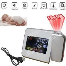 DIGITAL LED LCD TIME PROJECTOR TEMPERATURE WEATHER STATION ALARM CLOCK WHITE x 1