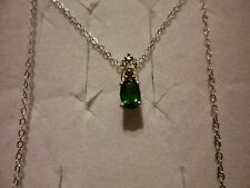 "Russian Diopside, Pink Tourmaline & Diamond Pendant w/18"" Chain in 925 Sterling"