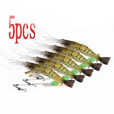 5x 10cm Silicone Shrimp Fishing Simulation Noctilucent Soft Prawn Lure Hook JF#E