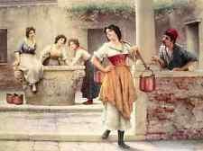 Eugene De Blaas Flirtation At The Well A4 Print