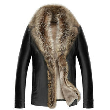 Vogue Men's Raccoon fur collar jacket genuine leather coat trench outwear padded