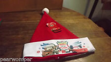 Disney Cars Happy Holiday Highway Tow Mater & Lightning McQueen Santa Hat NWT
