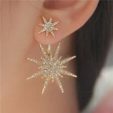 1 PC Women Lady Crystal Rhinestone Dangle Gold Star Ear Stud Earring Jewelry