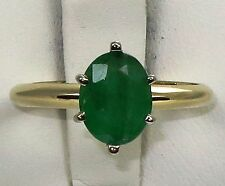 Estate 14k y.gold ring with 7x9mm 1.80ct Emerald, t.w 2.8gram, size 7
