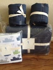 7pc Pottery Barn Kids Easton Quilt Euro Shams Tugboats/Boats Sheet Full