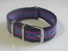 Black/Purple/Blue Bond NATO 20mm Military strap band fit TIMEX Weekender Watch +