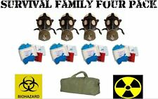 FAMILY SURVIVAL 4 Pack NATO NBC Military GAS MASKS Hi-Risk Disease Kits and Bag
