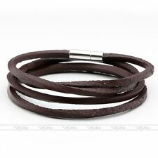 Men's Surfer Coffee Multilayer Genuine Leather Bracelet Cuff Wristband Punk