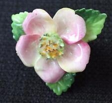 Vintage Signed CARA STAFFORDSHIRE Bone China England WILD ROSE Pin Brooch