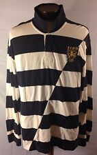 MENS IZOD LUXURY SPORT VINTAGE RUGBY SWEATER SZ 2XL Lion Logo Patch STRIPED