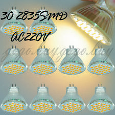 10 x MR11/G4 Ultra Bright 2835 SMD LED Spot Light Bulb 30 LED Warm White 220V AC
