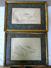 2 RARE ANTIQUE AMERICAN CALLIGRAPHY BIRD FLOURISHES FRAMED MARBLE MAT SIGNED