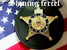Shine Gold Five-pointed star U.S Marshal Badge with clip back and Holder