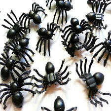 50pcs Spooky Black Plastic Spiders for Halloween Party Home Horror Decorations