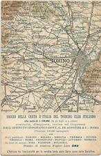 Italy, Map of Torino and Sorrounding Area, Touring Club Italiano, Old Postcard