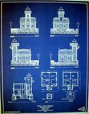 "Hudson River New York LIGHTHOUSE Builders Blueprint Plan 17""x21.75""  (274)"