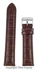 20 mm BROWN LEATHER WATCH BAND CROCO WITH SPRING BARS