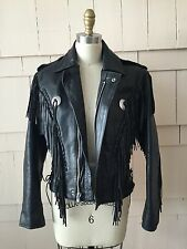 Women's vintage leather western fringe motorcycle jacket (black) - size 36