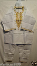 African Clothing Men Brocade 3Pcs Pant Suit Dashiki boho White Gold Free Size