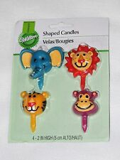 ~ JUNGLE PALS ANIMALS~ 4pc WAX SHAPED CANDLES  BIRTHDAY-CHILD   PARTY SUPPLIES