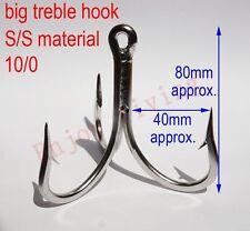 10/0 Stainless Steel Welded Treble Fishing Hooks Trolling Triple S/S Large Hooks