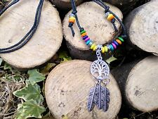 Black Cord*Tree Of Life*Hippy* Feather*Dream catcher*  Beads*necklace*choker*
