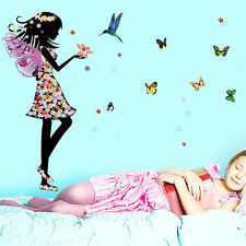 Angel Wings Beautiful Girl Flowers Butterfly DIY Wall Stickers Removable