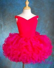 2pcs Girls Off-Shoulder Cupcake National Pageant Dress Shell Hot Pink 9-10 PT001