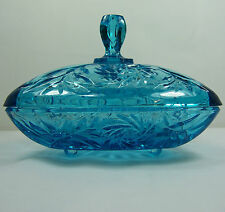 Vtg Hazel Atlas Triangle TURQUOISE Electric Blue Pinwheel Footed Candy Nut Dish