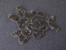 VINTAGE HAND EMBROIDERY SEQUINS & BEADS FLOWER  & LEAVES WHITE TULLE APPLIQUE  7
