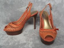 GUESS Marciano Orange Stiletto Platform Slingback Peep Open Toe Heels Shoes 7 M