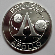 APOLLO 11 SILVER PLATE PROOF Commemorative Medals In case MIRROR Stamped Reeded