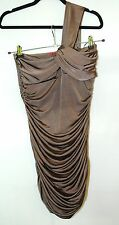 BROWN SLINKY LADIES DRESS STRETCHY NEW LOOK SIZE M/L PARTY EVENING INFLUENCE