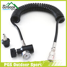 Paintball Coil Remote Hose Line w/QD and 3000psi Mini Gauge Extend Length 4m