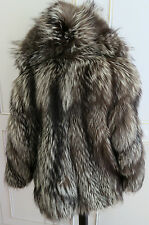 Luxurious Real Platinum Silver Fox Fur Short Coat Jacket with hood UK12EU40USA10