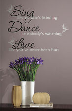 New SING DANCE LOVE WALL DECALS Quotable Black & Silver Room Stickers Home Decor