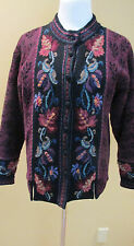 Icelandic Design Zip Front Nordic WOOL Lined CARDIGAN Floral SWEATER Jacket M