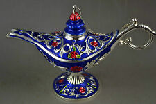 Handwork Miao Silver & Cloisonne Carving Flower Rare Noble Magical Aladdin Lamp